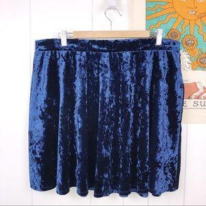 Forever 21 Crushed Velvet Blue Skater Skirt 2x